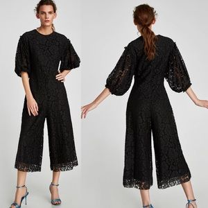ZARA-Cropped Lace Jumpsuit NWT